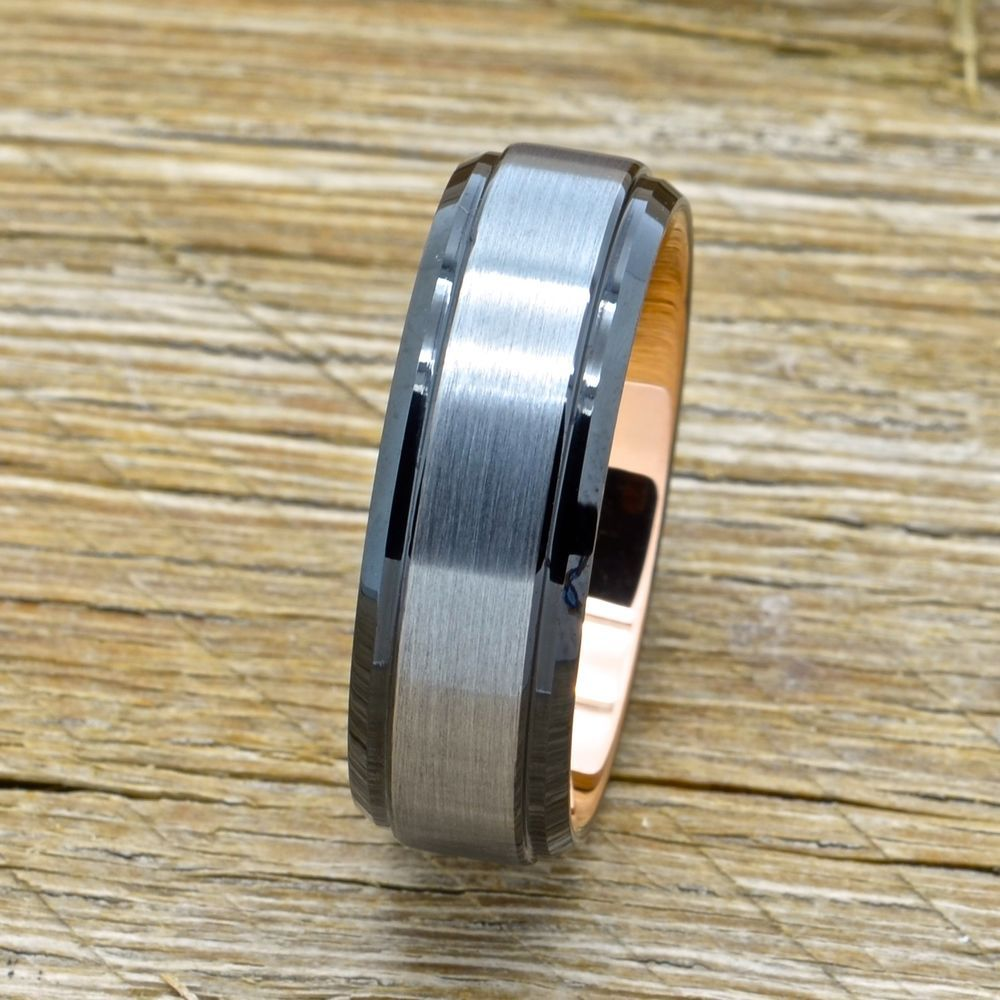 Men's Tungsten Wedding Band With 18k Rose Gold and Black