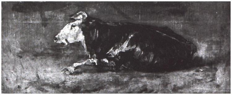 Vaca acostada Vincent van Gogh Pinturas, Óleo sobre tela La Haya: agosto, 1883 Ubicación desconocida F:1c,JH:389