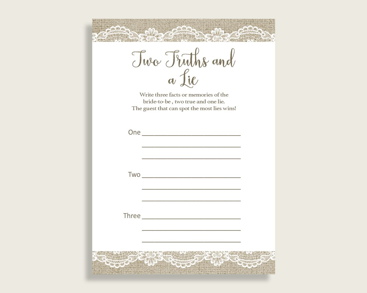 Two Truths And A Lie Bridal Shower Two Truths And A Lie ...