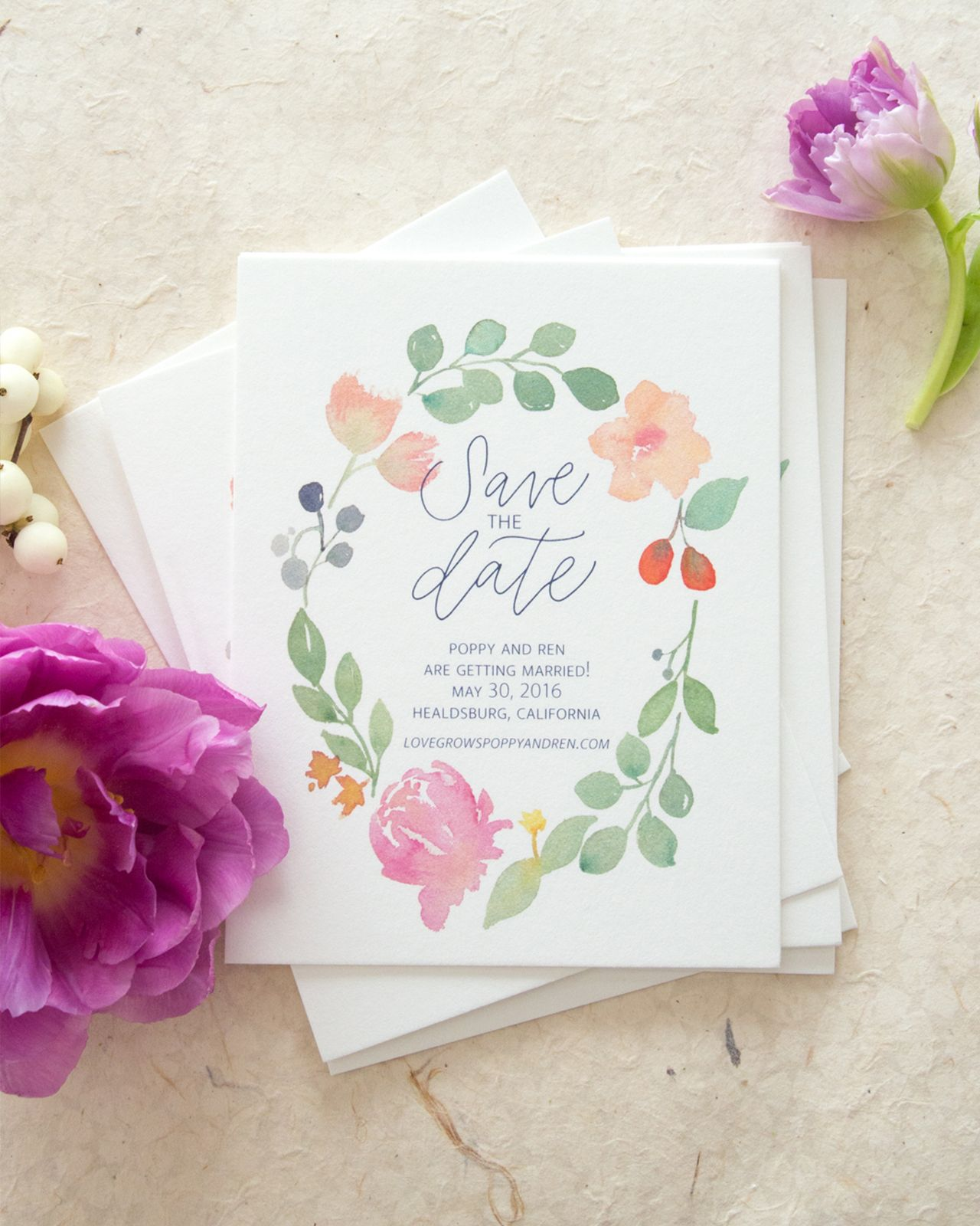 Whimsical Poppy and Eucalyptus Watercolor Wedding Invitations