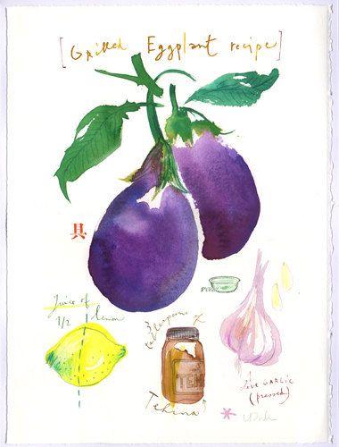 Original watercolor painting of Grilled eggplant recipe, Food art, Kitchen decor, Purple, Vegetable