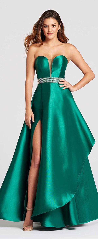 Sweet Satin Sweetheart Neckline A-line Prom Dress With Rhinestones ...