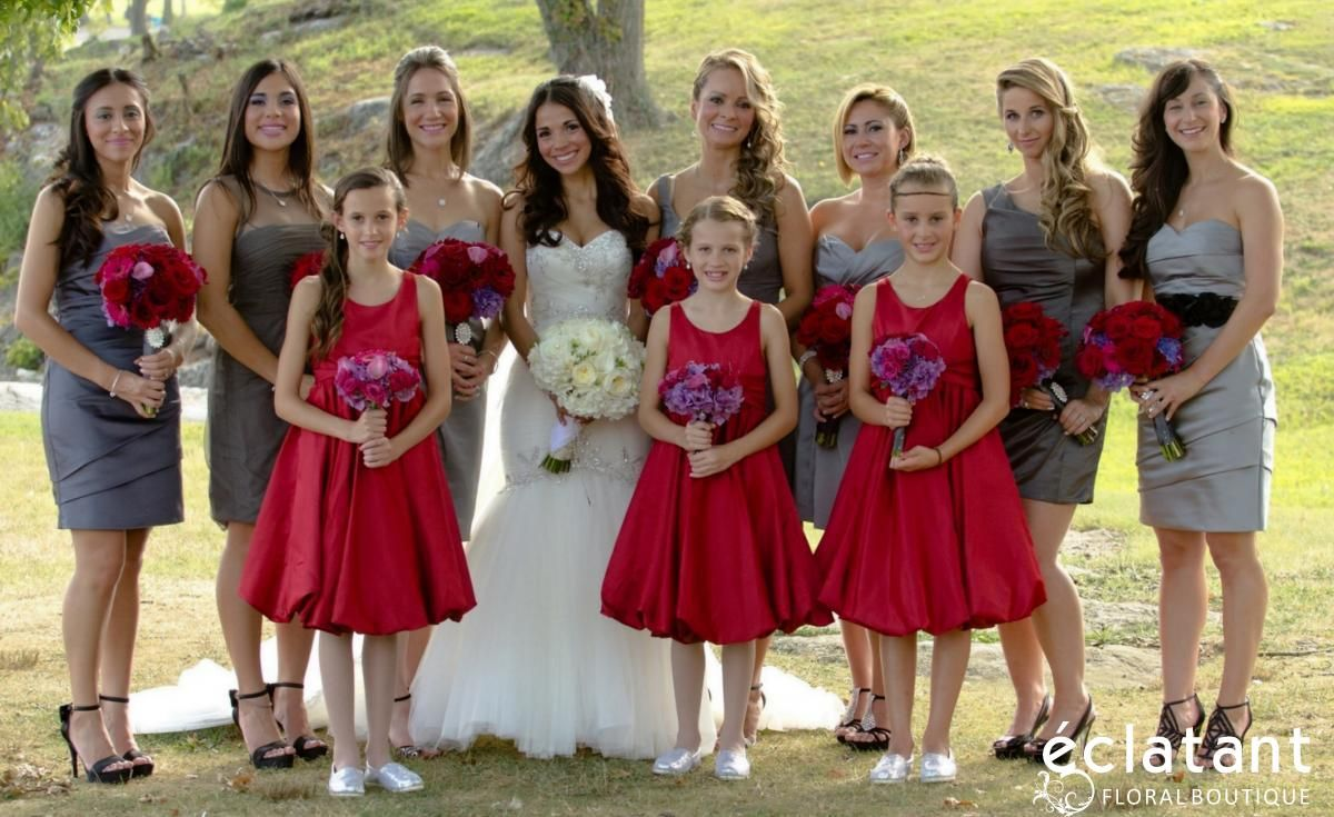 Wedding Party Grey Bridesmaids Dresses Red Flower Girl Dresses