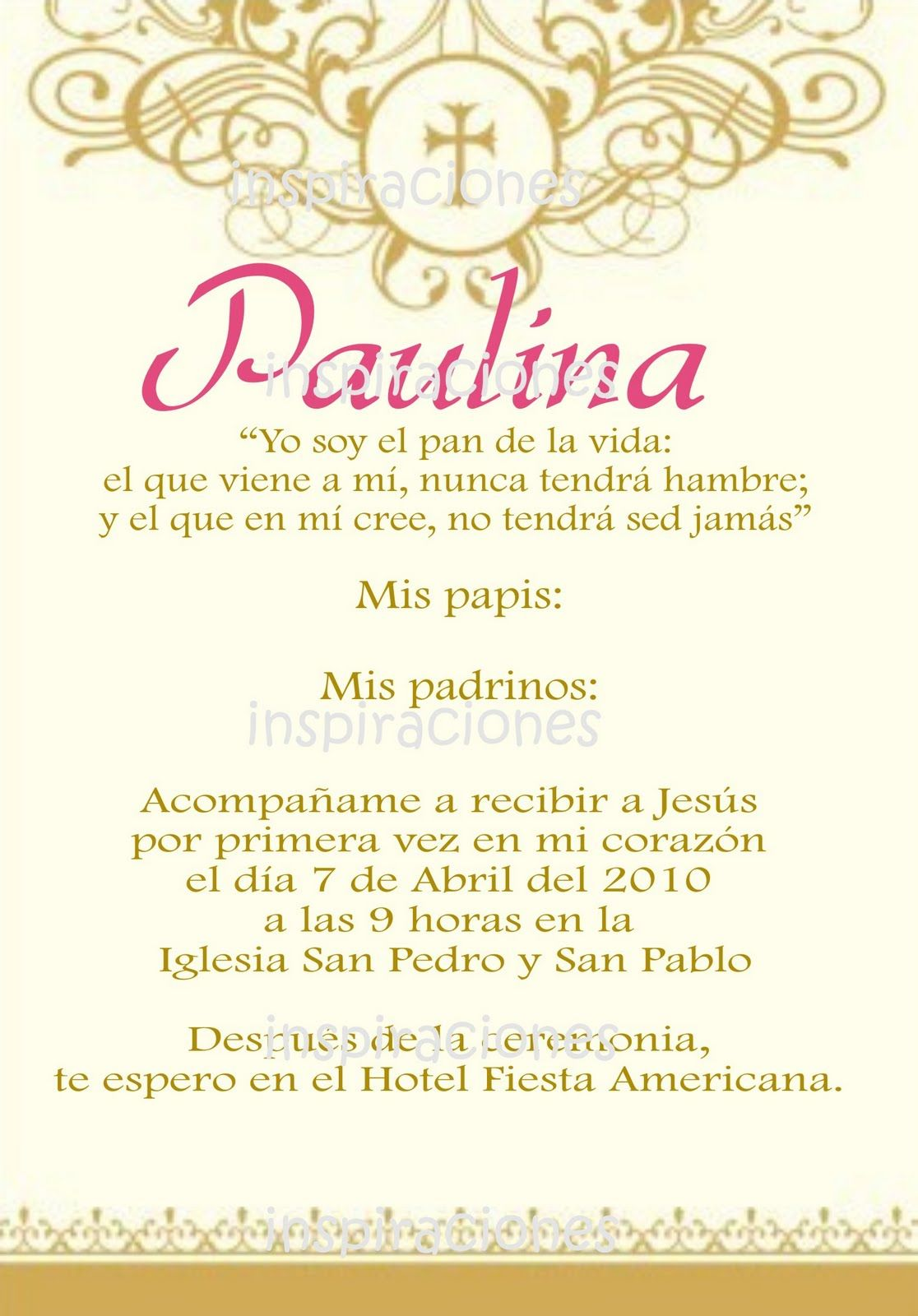 Invitaciones de primera comunion en espanol - Invitaciones comunion busquets ...