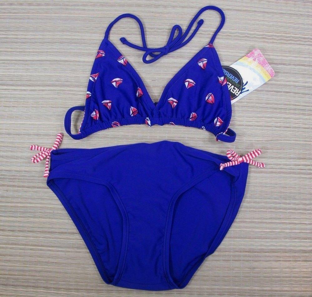 Malibu Girls 2 Piece Reversible Bikini Size 10 Sailboat Red White Blue Theme Nwt Malibu Bikiniset Reversible Bikinis Bikinis Red White Blue
