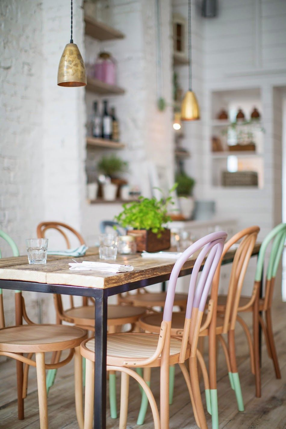 Dipped pastel dining chairs