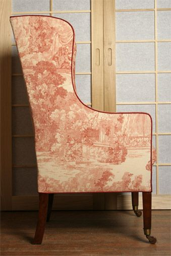 Edwardian Toile De Jouy Chair I Thought That The Chair Lent Itself To Something With A Upholstery Fabric For Chairs Upholstered Furniture Asian Home Decor
