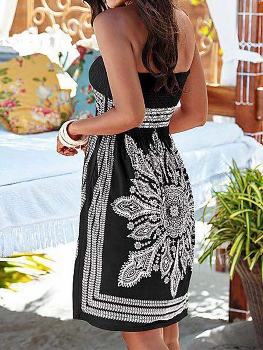Strapless Smocked Bodice Tribal Printed Skater Dress Ankle Length Dress Long Sleeve Skater Dress Chiffon Fashion [ 1200 x 900 Pixel ]