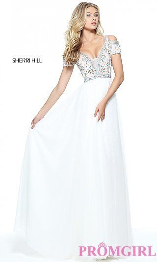 Ivory Prom Dress with Multi-Color Beading at PromGirl.com | Outfits ...
