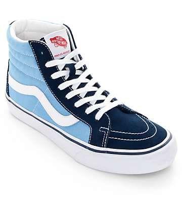 Vans Sk8 Hi Pro 50th Navy and White Skate Shoes (Mens