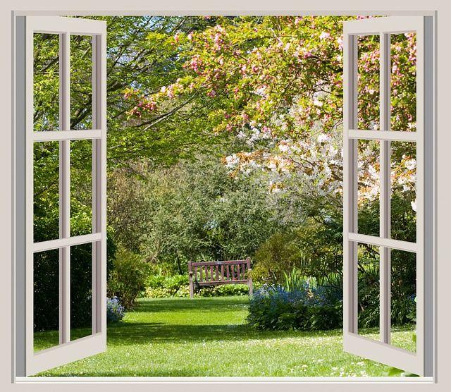 Fototapete fensterrahmen  Kostenloses Bild auf Pixabay - Frühling, Garten, Blick, Fenster ...