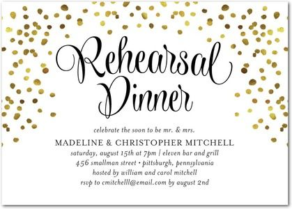 A celebration to remember! The night before the wedding day, invite family and friends to celebrate the happy couple with beautiful rehearsal dinner invitations.