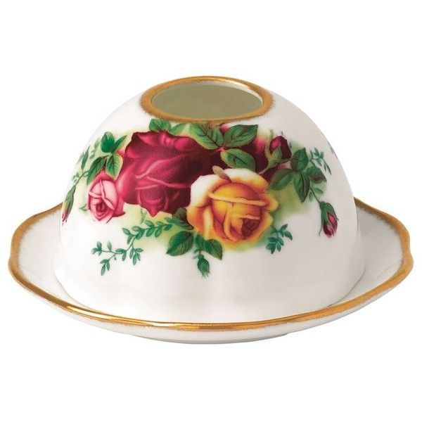 Royal Albert Old Country Roses Tea Light Votive ($30) ❤ liked on Polyvore featuring home, home decor, candles & candleholders, royal albert, rose home decor, bone china and rose bone china