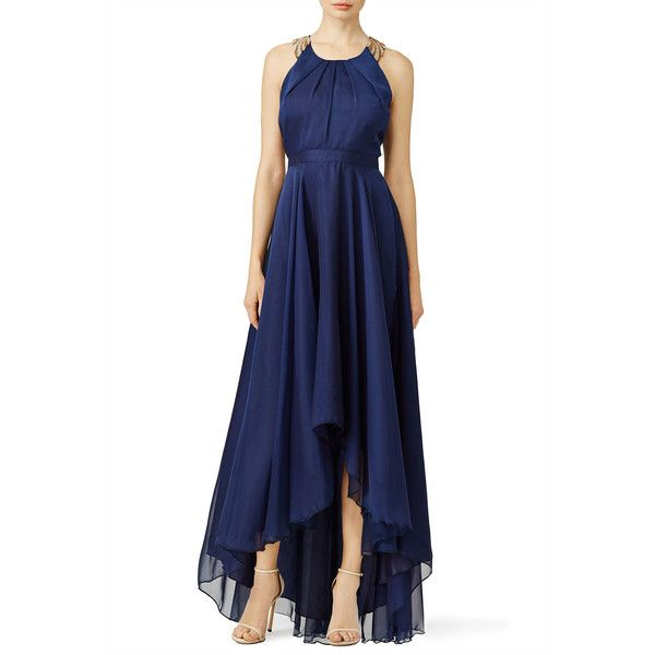 Rental allison parris Midnight Moon Gown ($110) ❤ liked on Polyvore featuring dresses, gowns, blue sleeveless dress, blue gown, key hole dress, chiffon ball gown and sleeveless dress