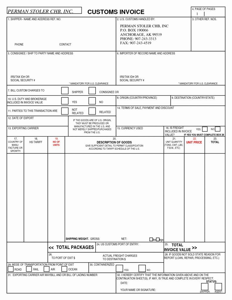 Invoice Sample Usa Forms Templates Resume Customs Template