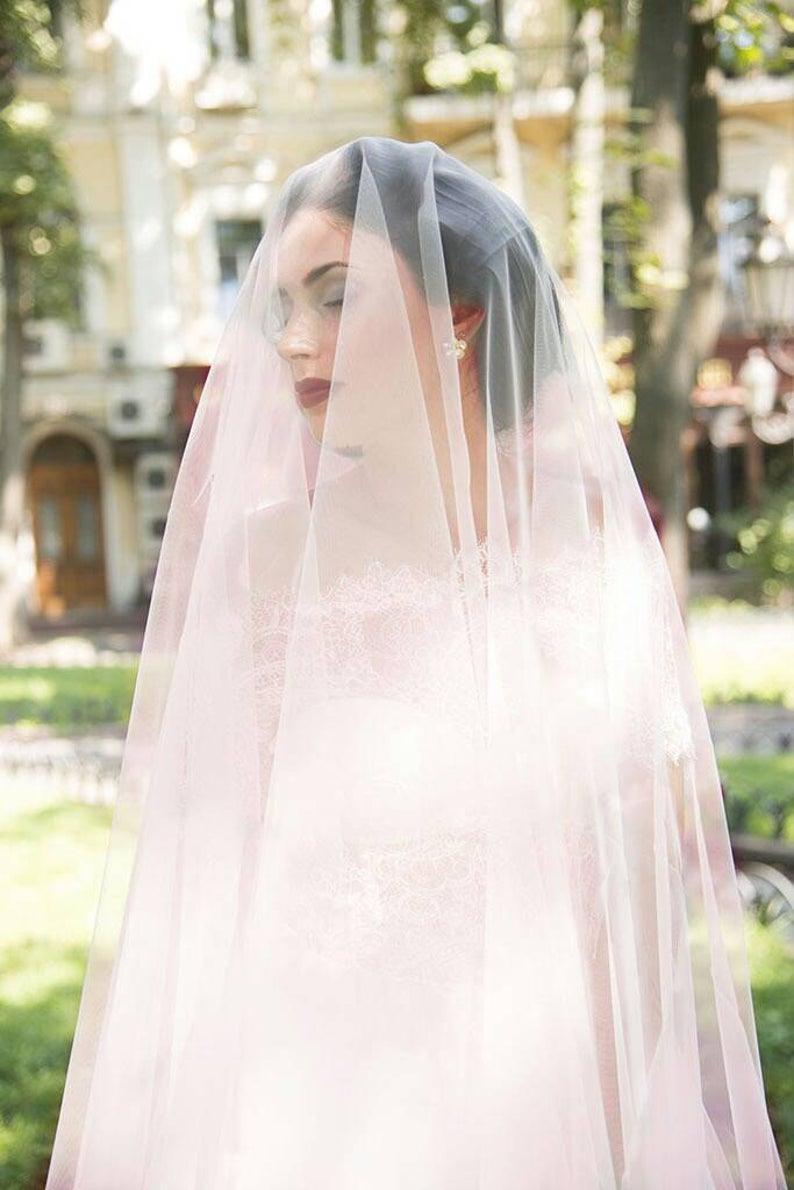 Pink Wedding Veil Peach Wedding Veil Light Pink Drop Veil Etsy In 2020 Simple Wedding Veil Drop Wedding Veils Blusher Veil