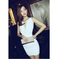 Alluring Faux Pearl Embellished Sleeveless Narrow Waist Club Dress For Women