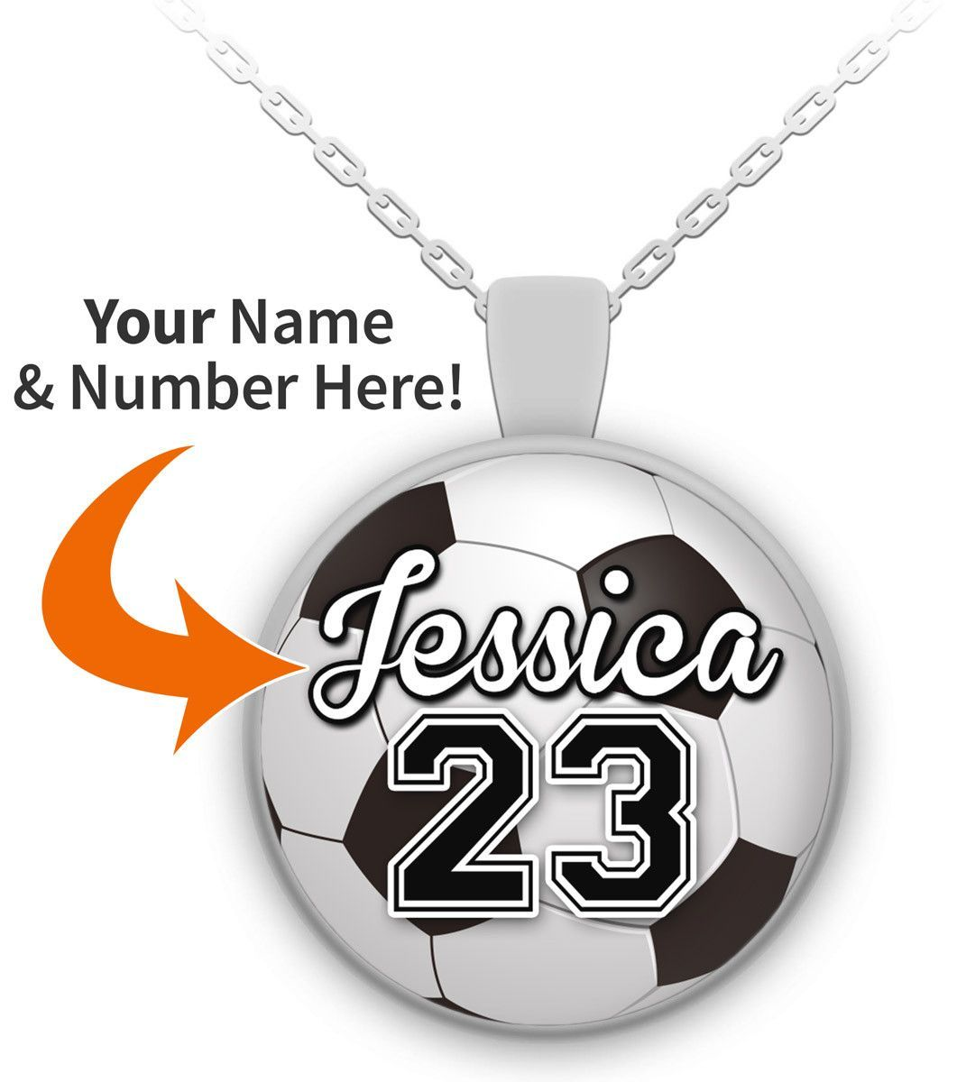 Customizable soccer pendant necklace pendants soccer players personalized soccer necklace pendant mozeypictures Image collections