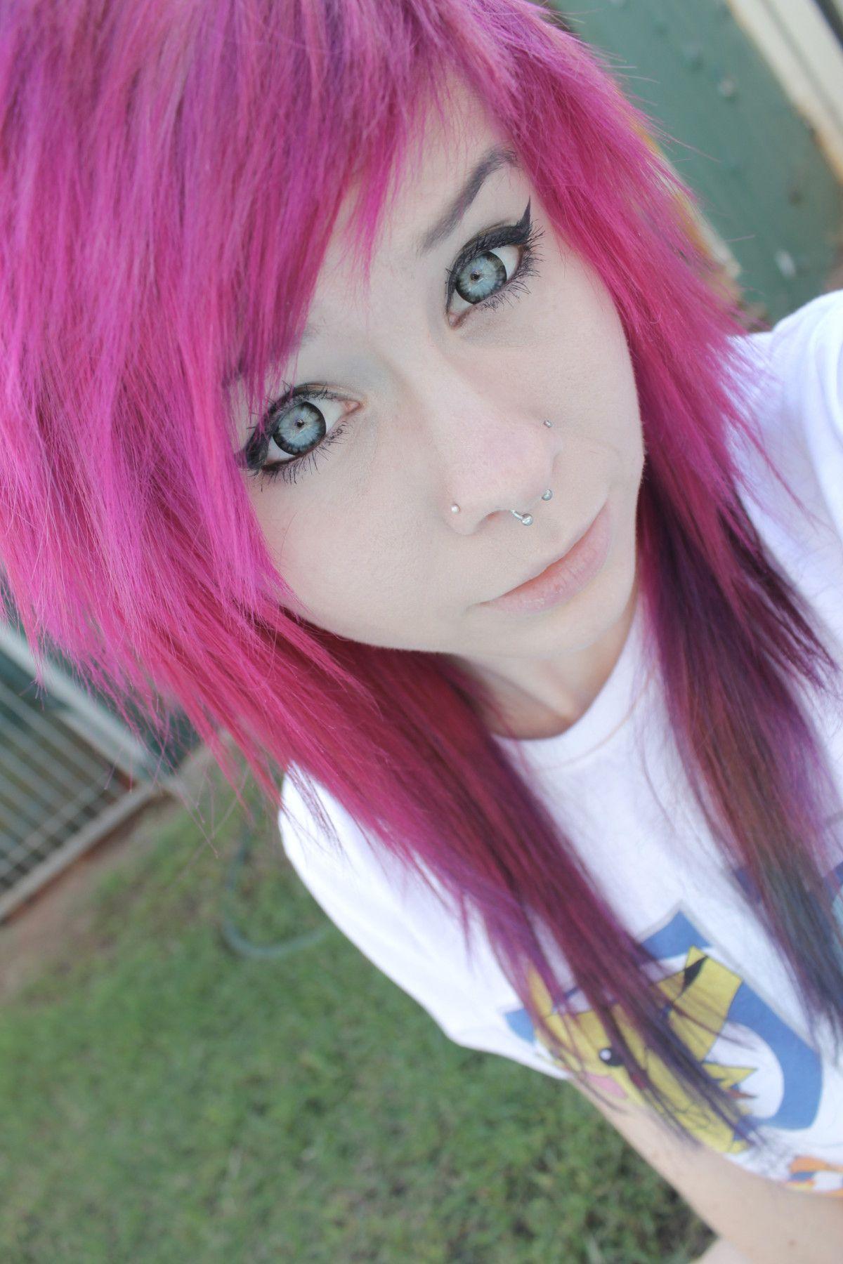 Pink dyed scene hair pretty color me pretty hair pinterest