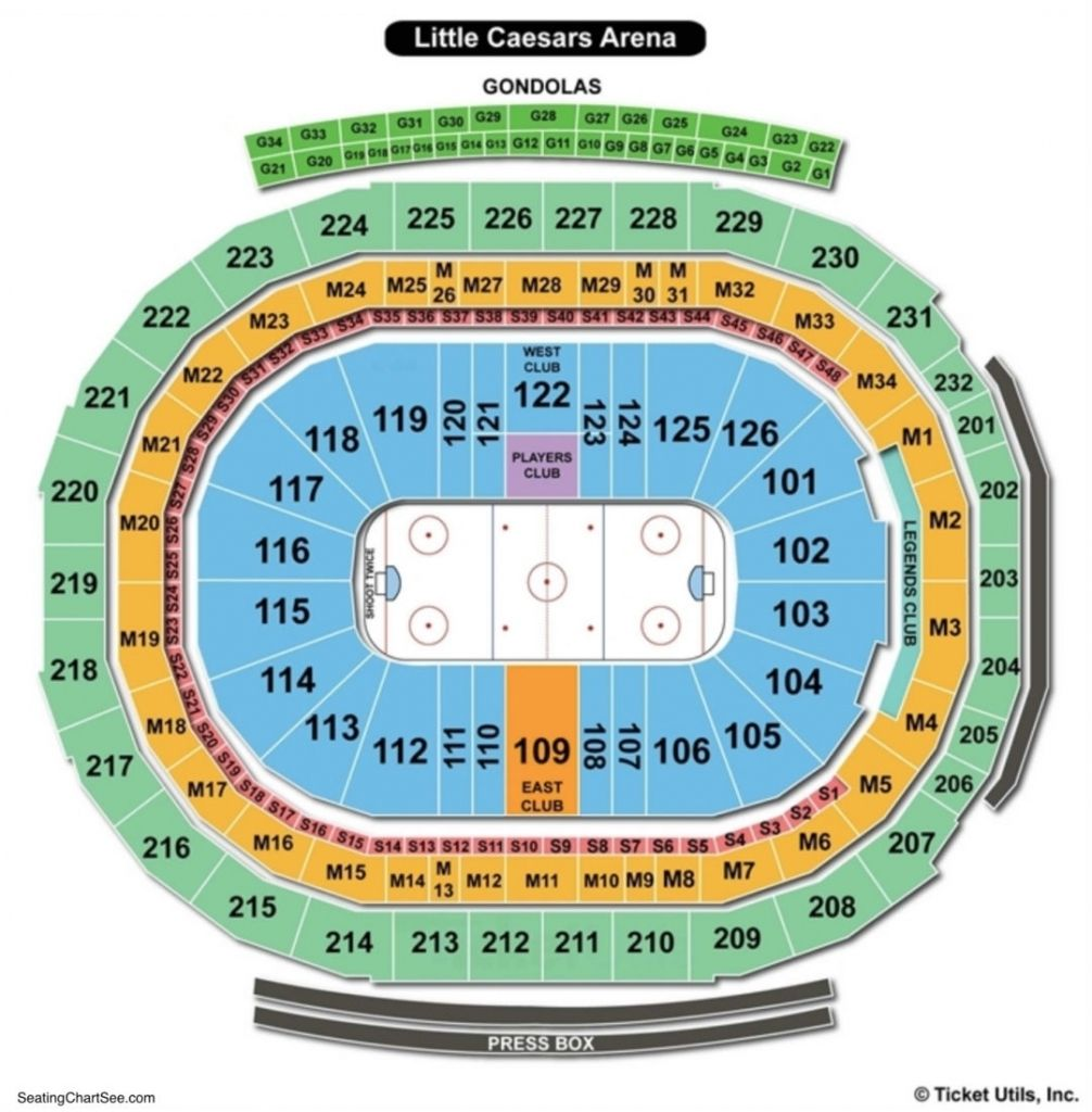 Little Caesars Arena Seating Chart In 2020 Seating Charts Chart Detroit Red Wings