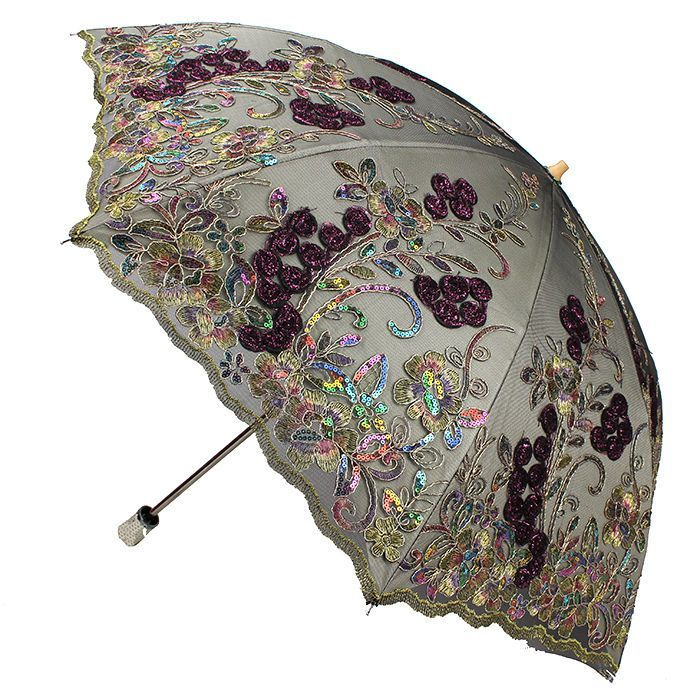 Flower Blooming Embroidery Flower Lace Umbrella Folding Anti Uv Sun Rain Parasol Fancy Umbrella Lace Umbrella Stylish Umbrella