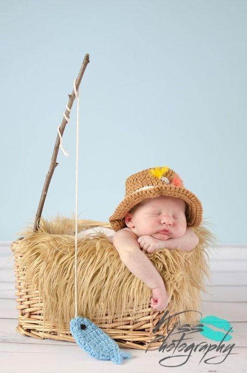b6eed37331ea5 Newborn Fishing Hat - Baby Boy Fisherman Hat and Fish Set - Newborn ...