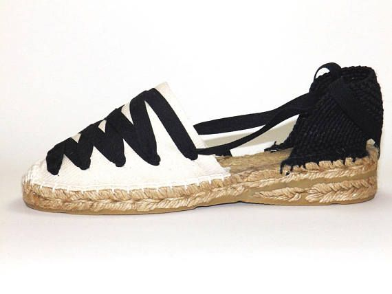 Lace Up Spanish Wedge Traditional EspadrillesBlack And Low Beige 3Aqc5Rj4L
