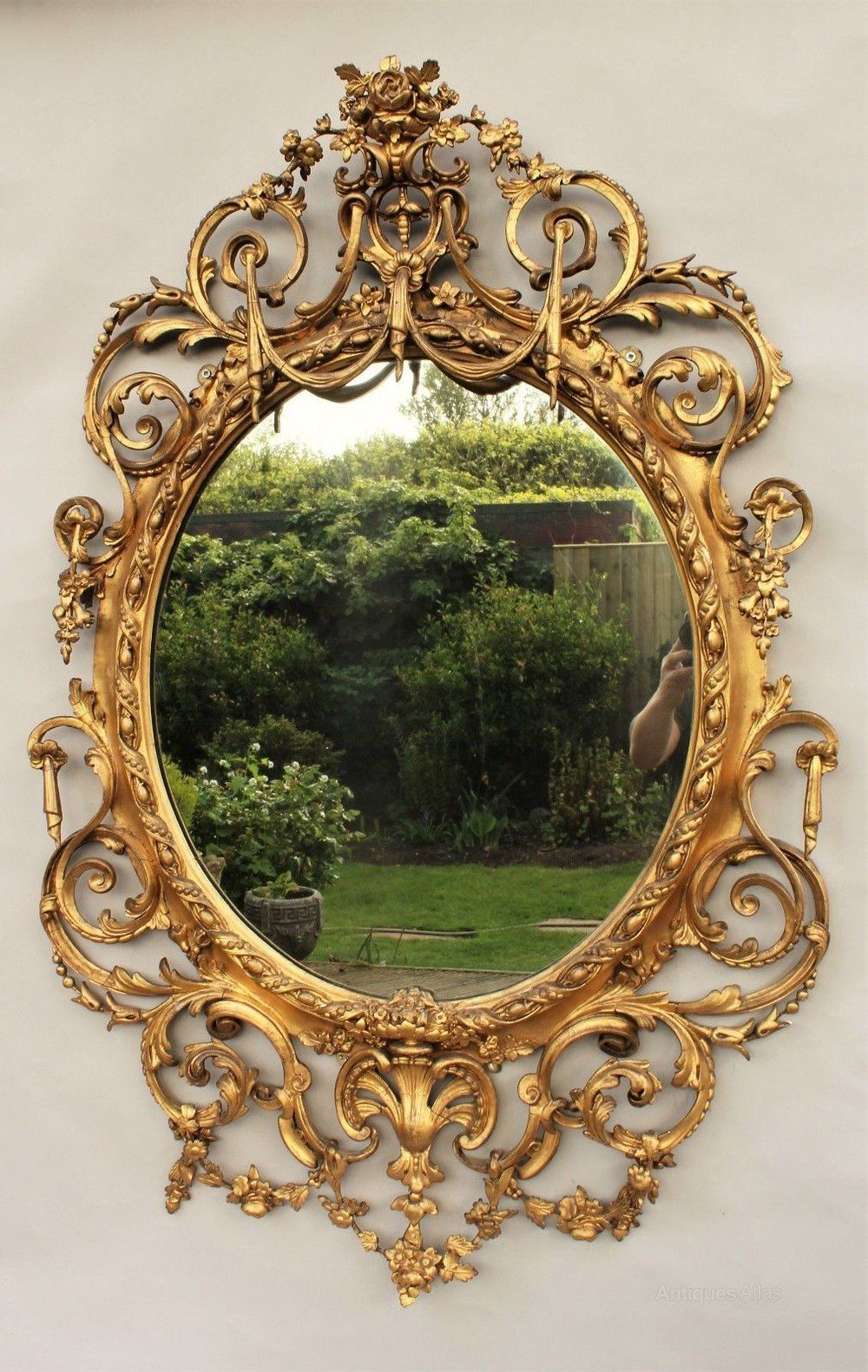 19th Century Ornate Gilded Oval Mirror