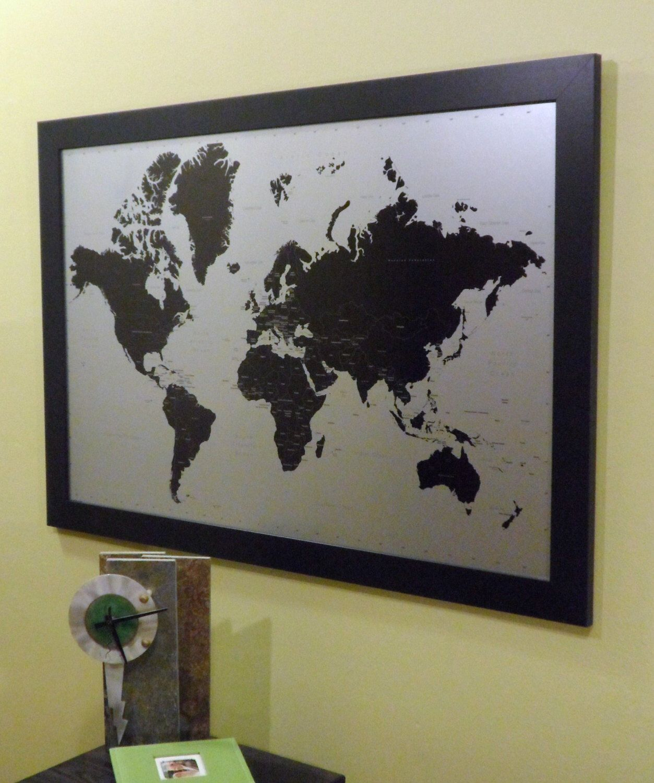 Modern Silver World Push Pin Travel Map X On A Satin Black - 24x36 world map