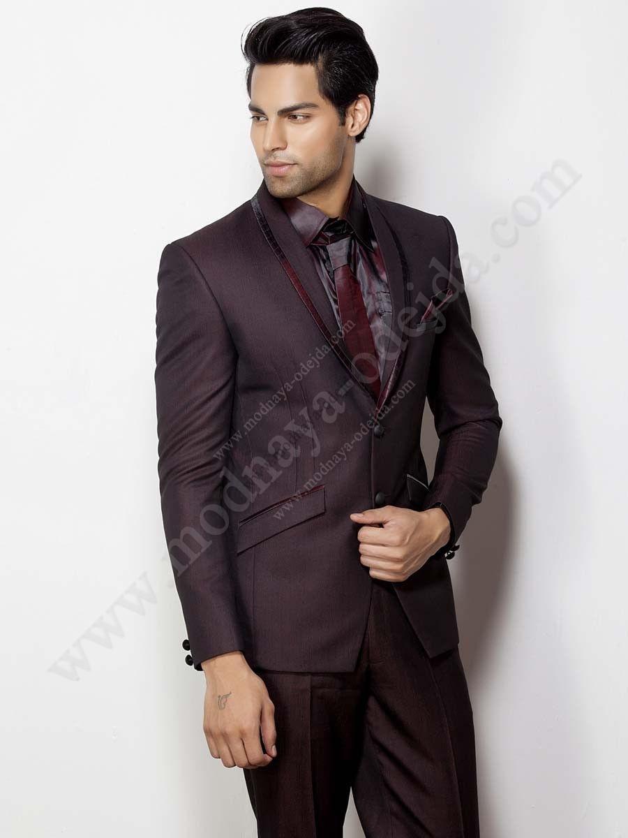Виинный мужской костюм-двойка   шёлковая рубашка   галстук