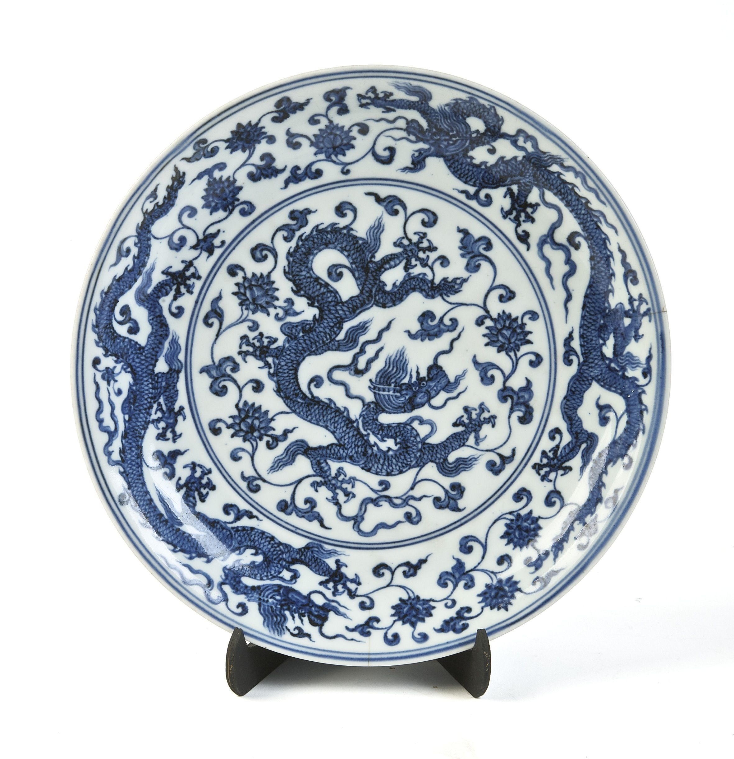 A ming dynasty blue and white circular dragon dish the base with a ming dynasty blue and white circular dragon dish the base with six character mark reviewsmspy