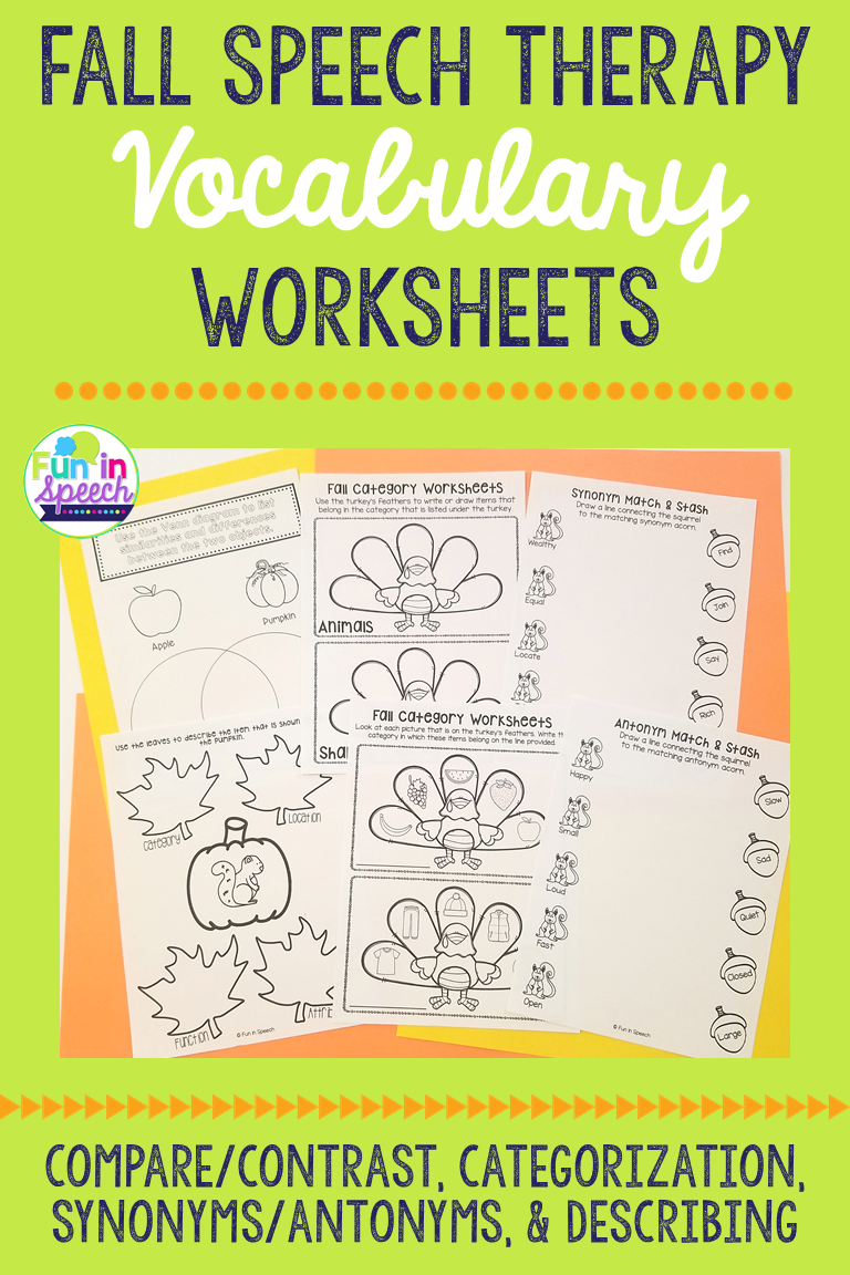 Print And No Print Fall Vocabulary Worksheets For Speech Therapy Speech Therapy Activities Language Therapy Activities Speech Activities