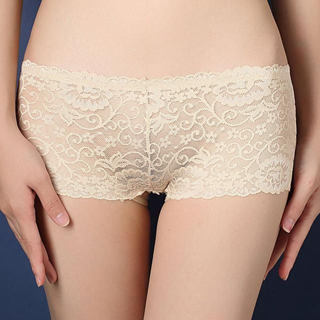 ee71cd12a5f5 3 pcs Women Lace Boyshorts Low-waist Transparent Panties Briefs Underpants  Spandex Sexy Knickers Shorts intimates Seamless white