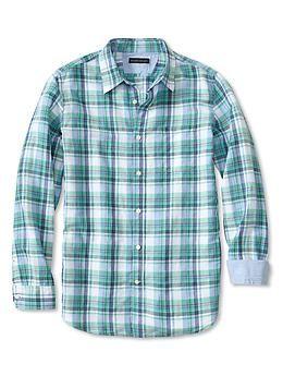 Slim-Fit Linen-Cotton Green Plaid Shirt