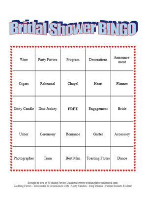 How To Get Free Printable Bridal Showers Bingo Cards Wedding Favors Unlimited S Shower