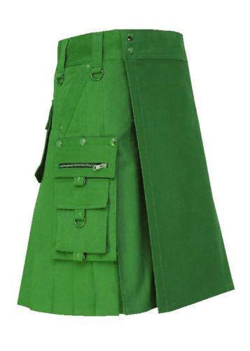 New-Stylish-Green-Outfit-Fashion-Utility-Kilt-Made-For-Men #BlackUtilityKilt #UtilityKiltPattern #MensKilt