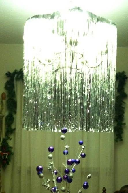 Tinsel Chandelier for New Years party made with Tinsel ...