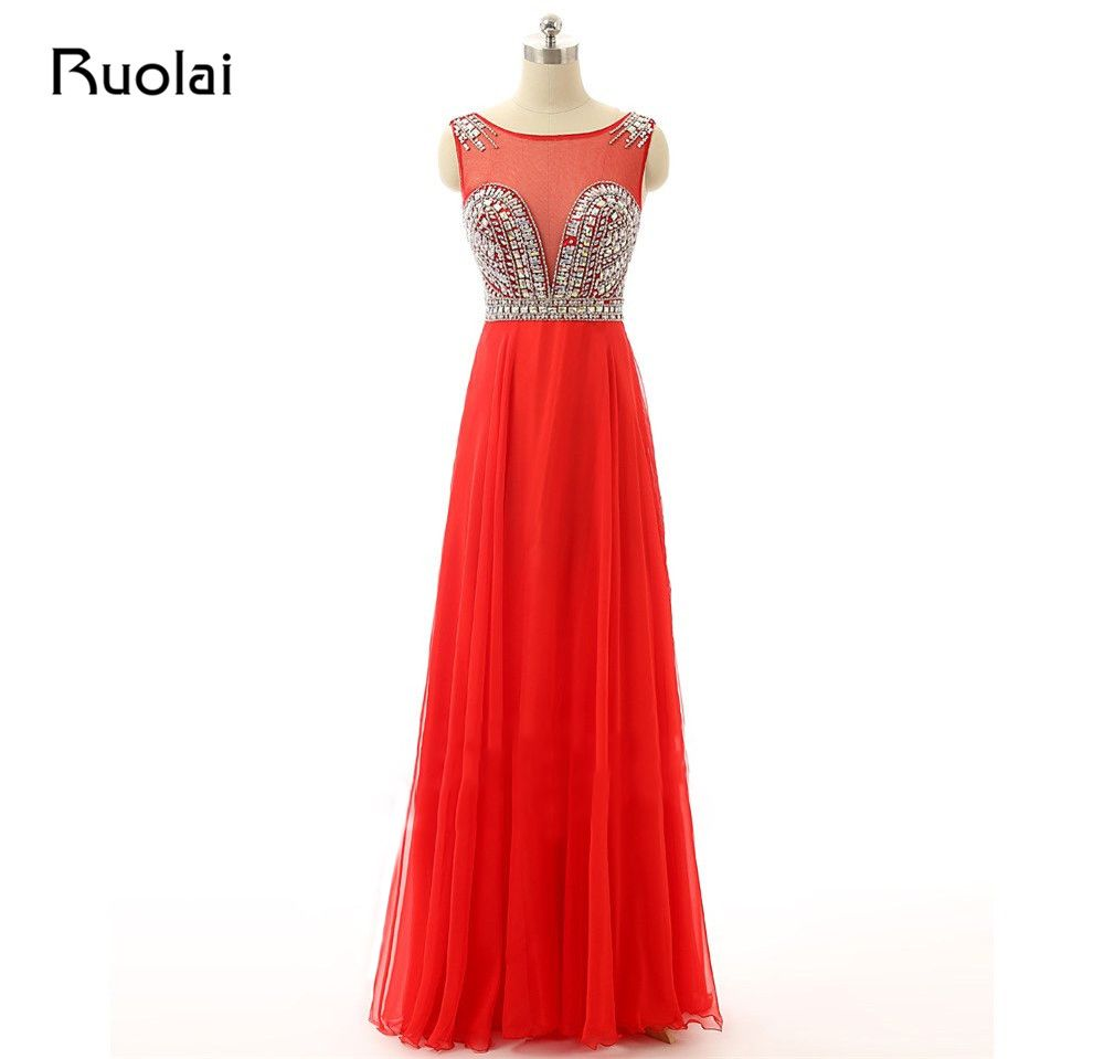 Real photo evening dresses aline tulle red prom dress with