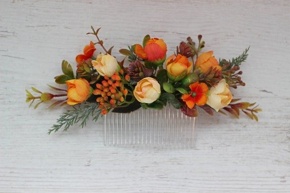 Burnt orange flower comb, Fall wedding headpiece
