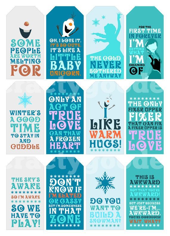 Frozen Quote Christmas Gift Tags