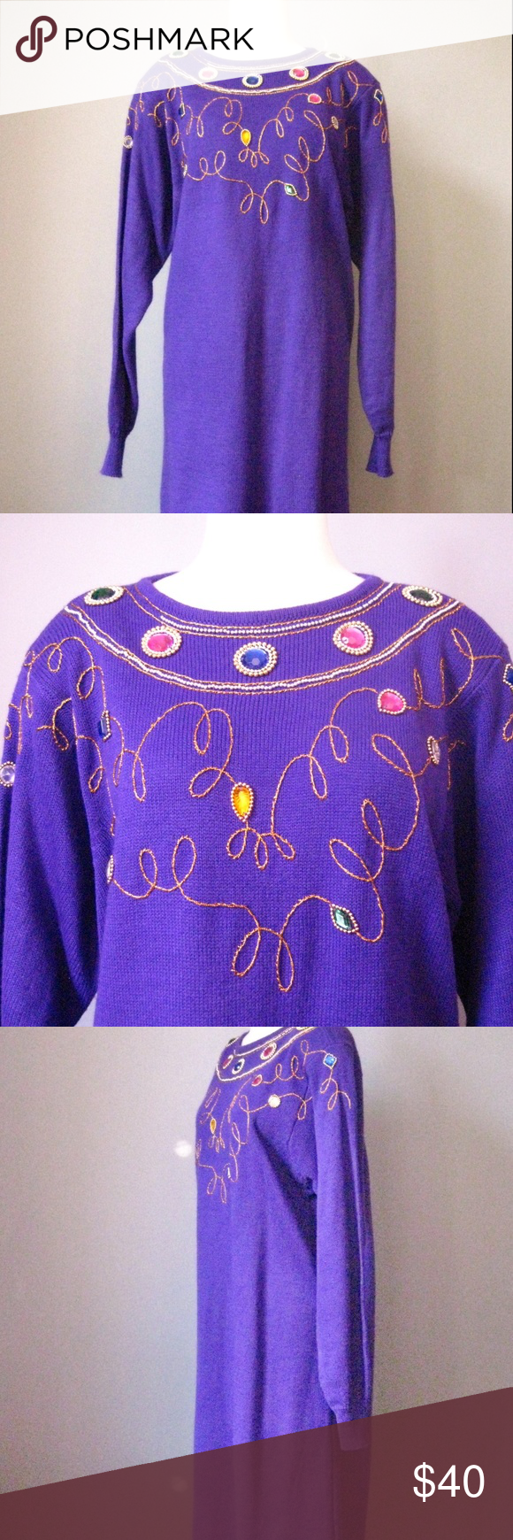 3f03dc30c9e Vintage Sweater Dress Early 90s Purple Jeweled For me