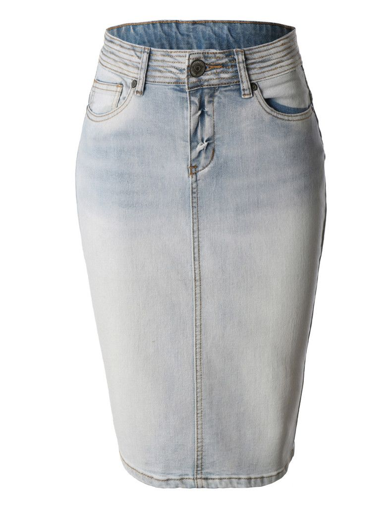 LE3NO Womens High Waisted Denim Pencil Skirt with Stretch | WOMENS ...