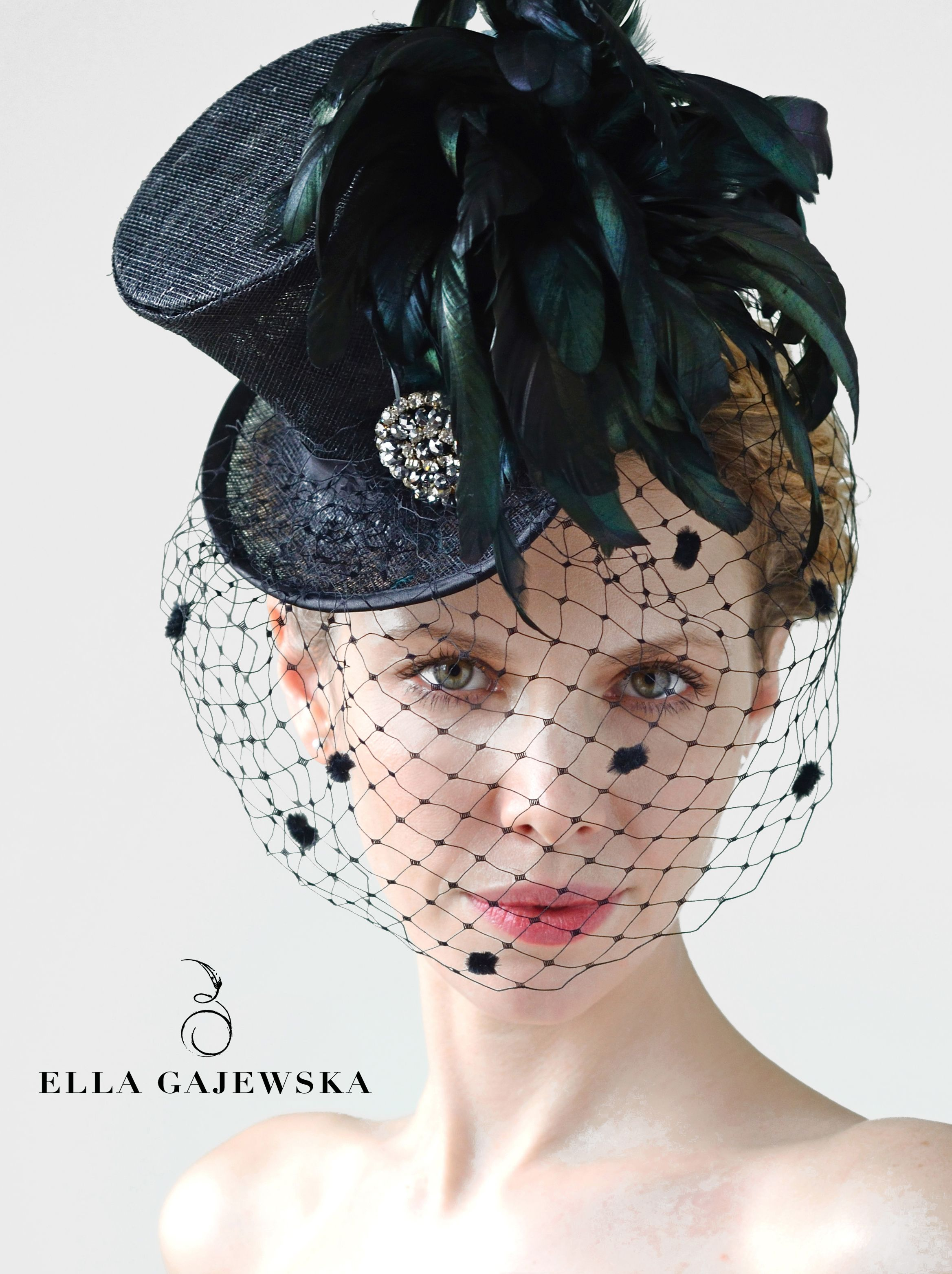 d93fd893ae132 Mini Top Hat - Black with Mysterious Birdcage Veiling - Steampunk Accessory  - Mad Hatter - Handmade Millinery - Elegant Feathers Fascinator - Racing ...