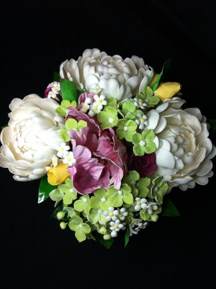 Gum paste flower bouquet - Peony, parot tulip, roses, filler flowers ...