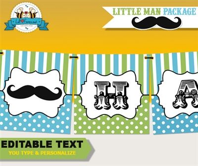 editable little man happy birthdaywelcome baby banner 695 littleman firstbirthday partyprintable mustachebash littlemanparty lilfacesprintables