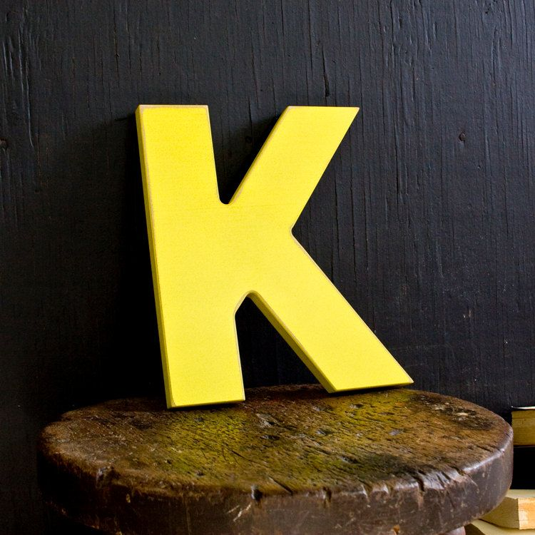Mid Century Architectural Style Yellow Wood K Letter Distressed Wall ...