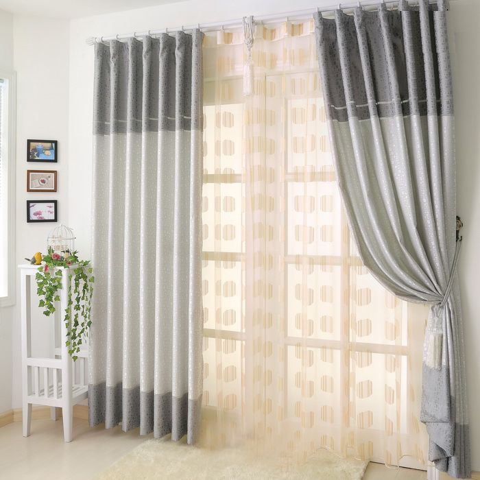 Grey curtains with modern printed polyester materials p