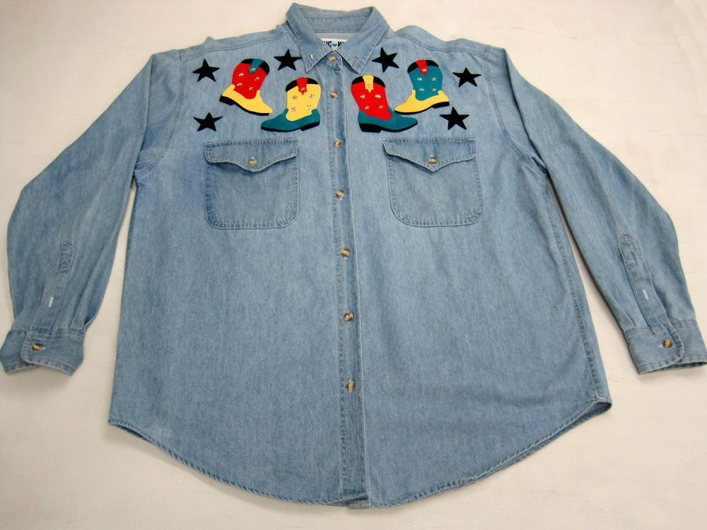 Large lady s shirt blouse hg ny applique western collection