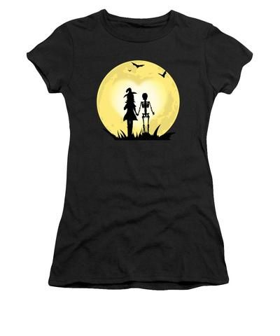 Romantic Halloween Witch And Skeleton T-shirt - Women's T-Shirt (Athletic Fit)
