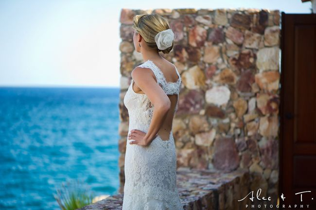 Gorgeous lace gown in Cabo!
